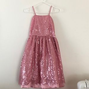 Pink sequence dress for young girl
